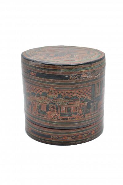 Ancienne boite laquée birmane peinte main.