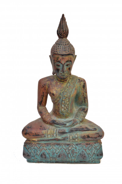 Buddha sculpté en bois assis polychromé.
