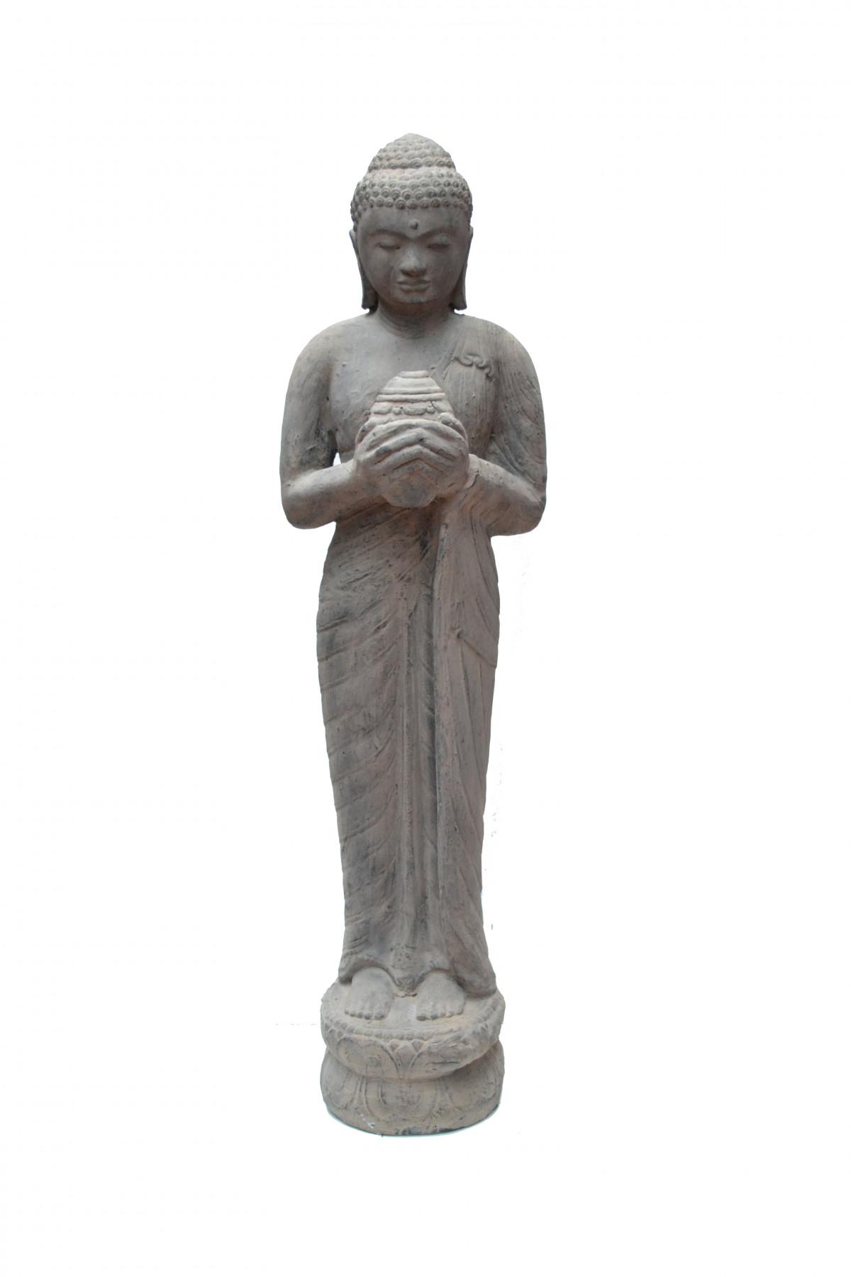 Bouddha coquillage en pierre de lave 1