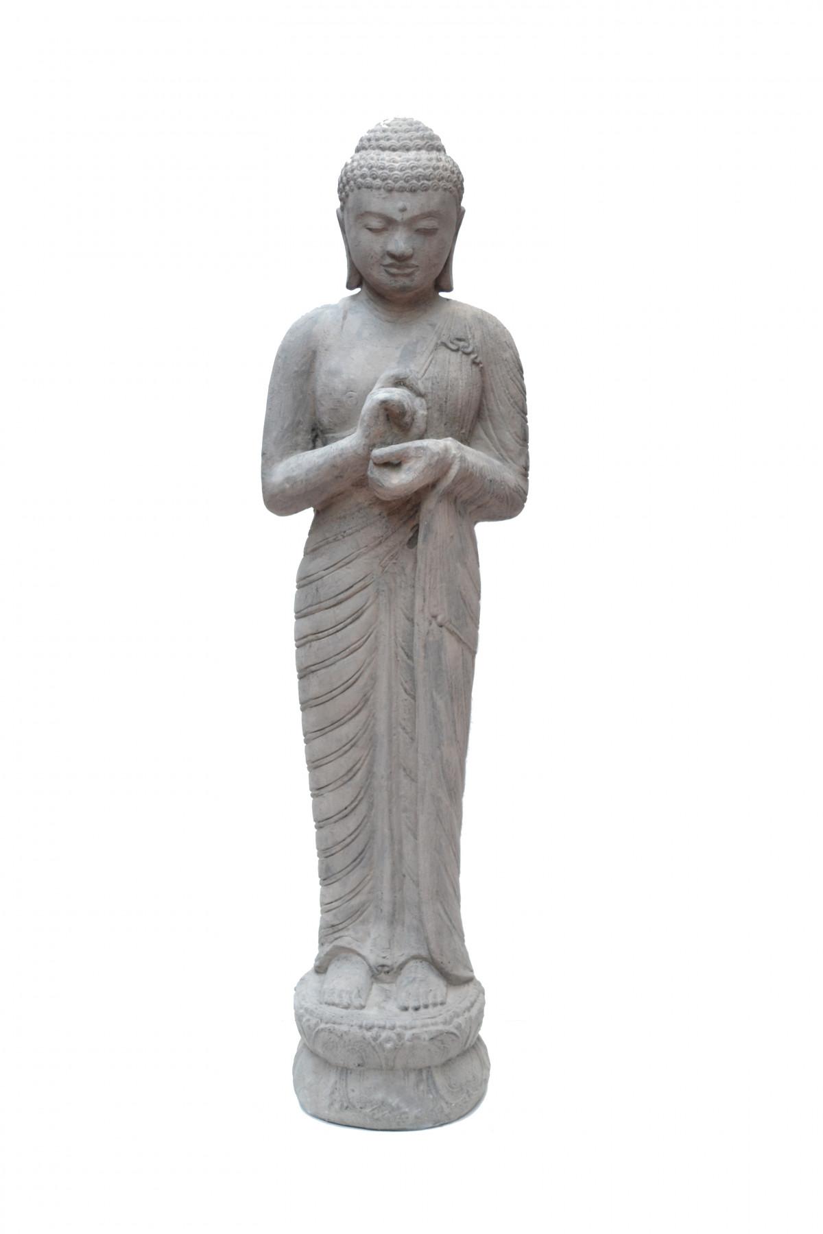 Bouddha signe de  paix en pierre de lave 1