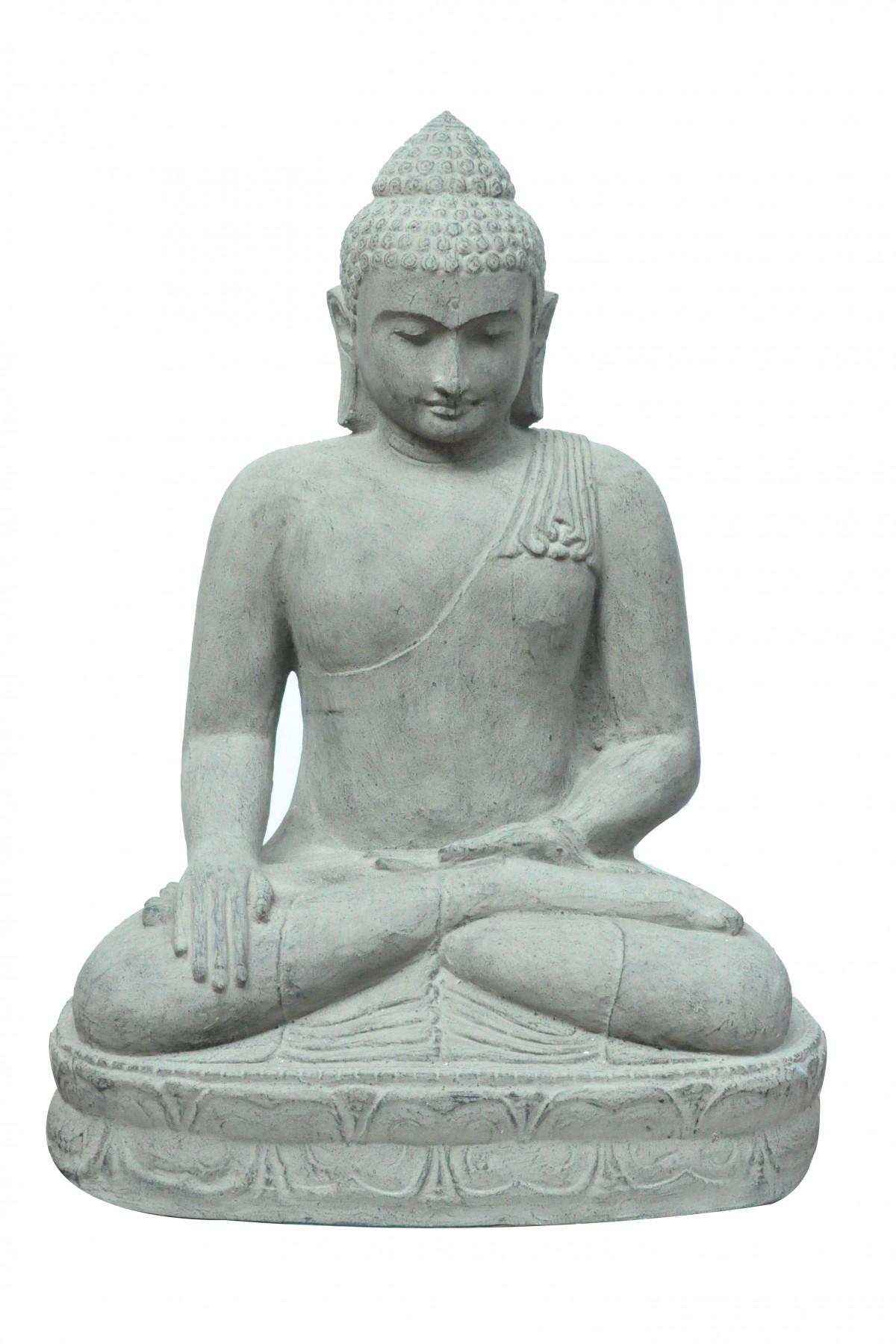 Bouddha assis en pierre de lave 1