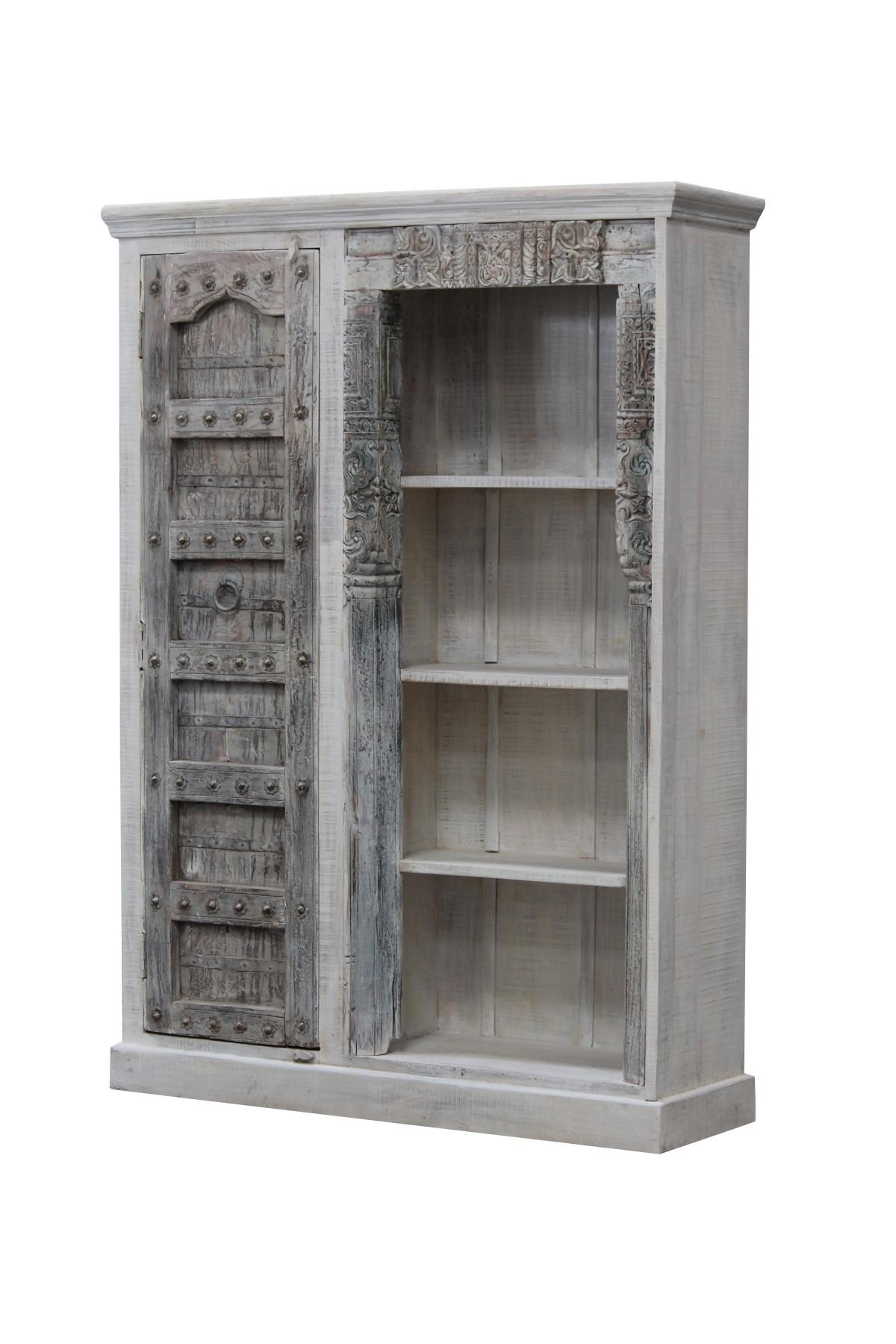 Meuble bibliothèque ancienne porte en bois. Inde 1