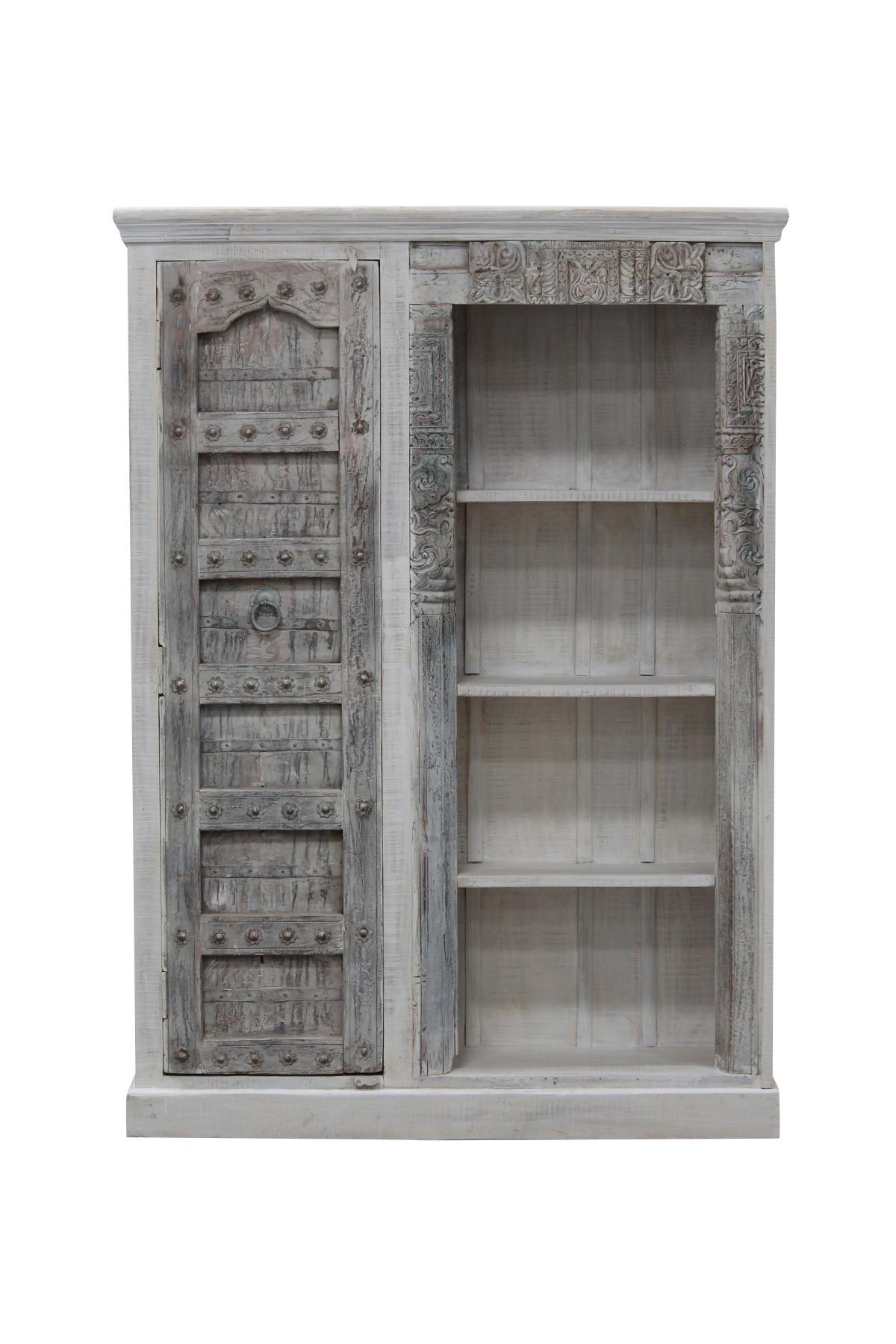 Meuble bibliothèque ancienne porte en bois. Inde 2