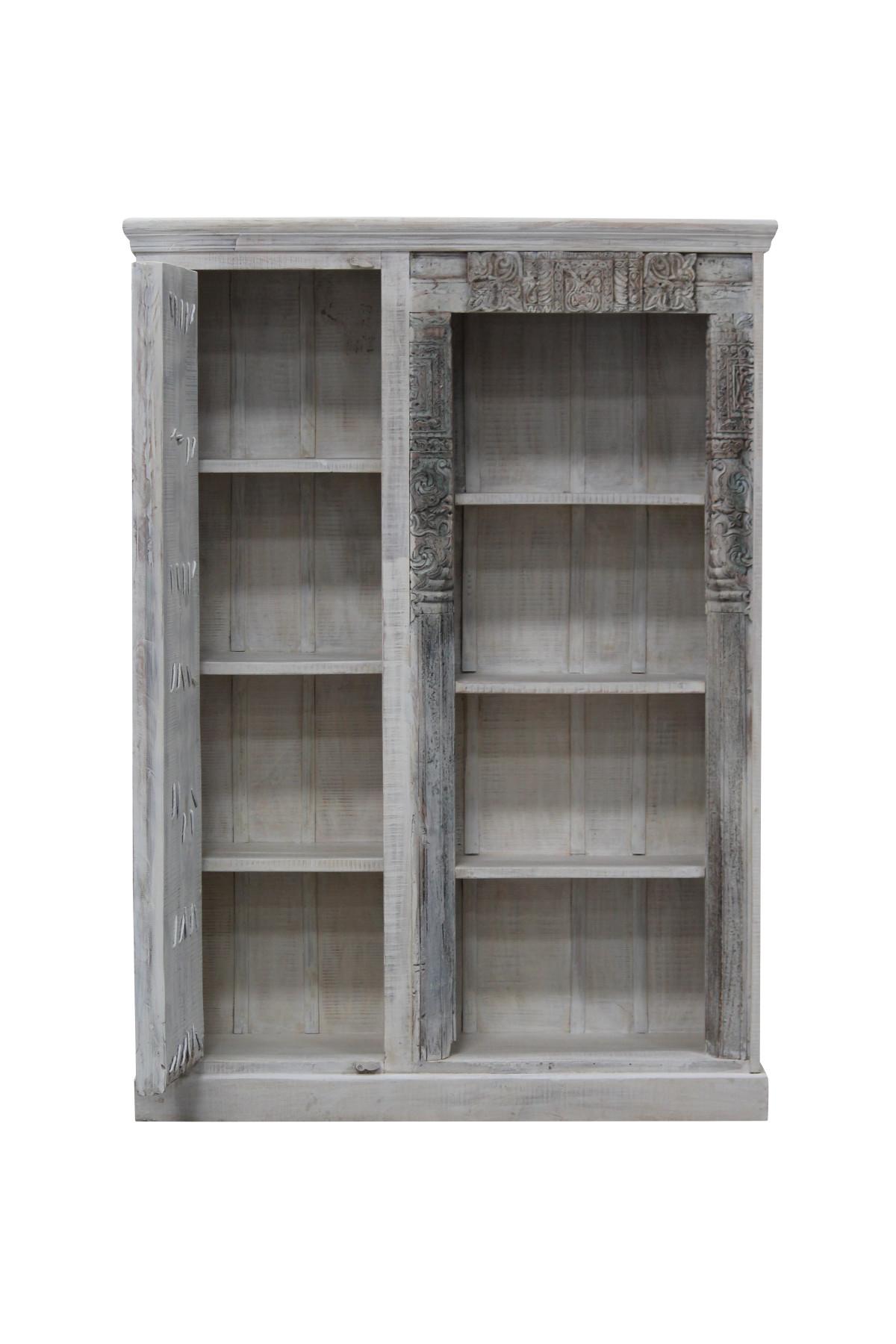 Meuble bibliothèque ancienne porte en bois. Inde 3