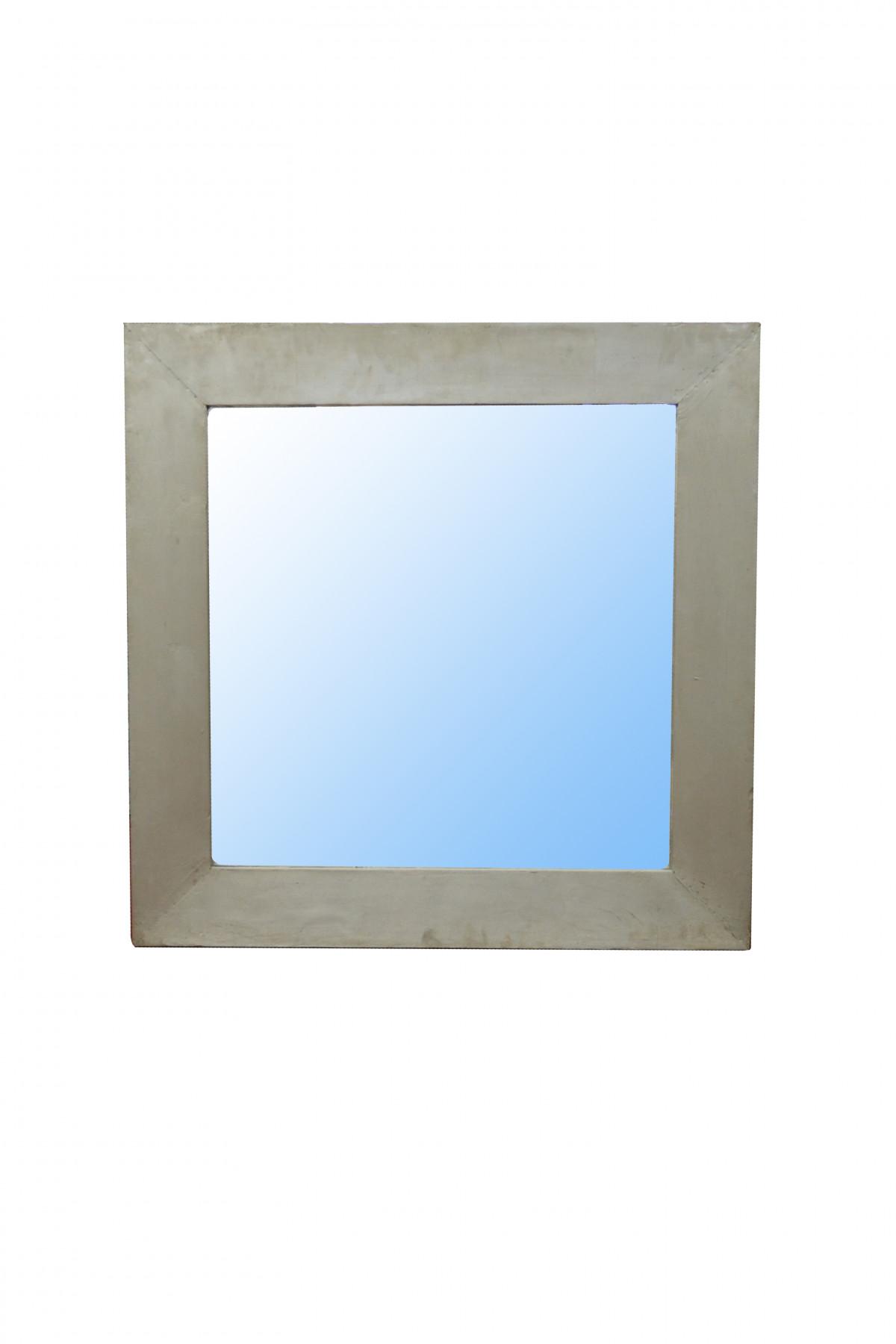 Miroir carré en bois et  nickel  1