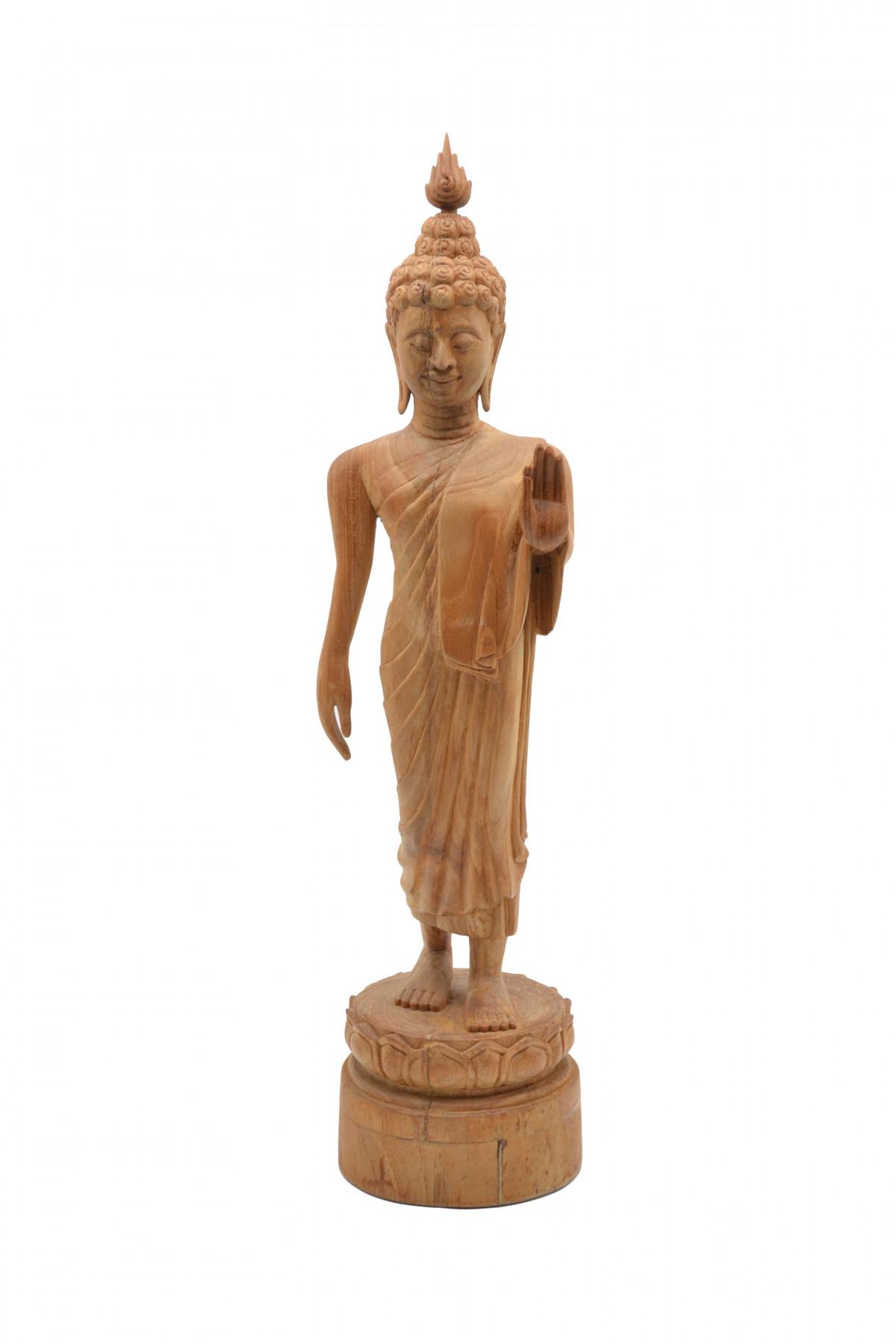Statuette de bouddha debout en bois de teck naturel 1