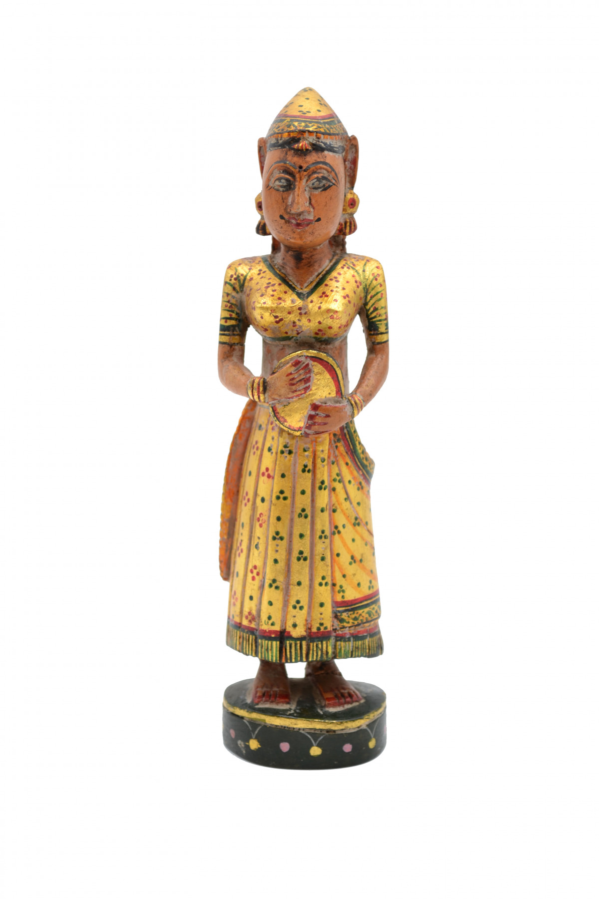 statuette en bois polychromé dun ancien jeu d'échec. 1