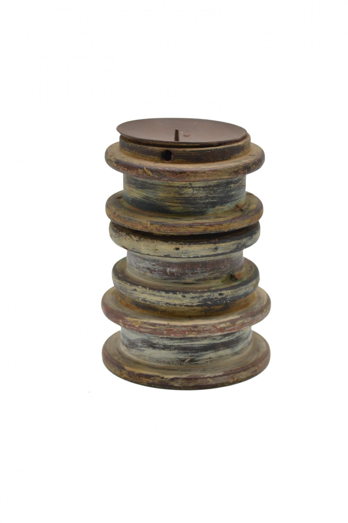 Bougeoir en bois cérusé coupelle en métal 1