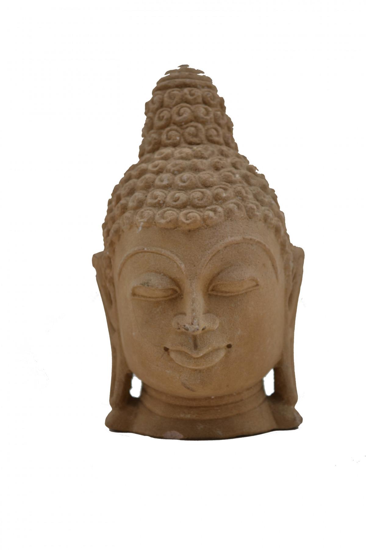 Tête de buddha en pierre des sables : Inde du Nord.  1