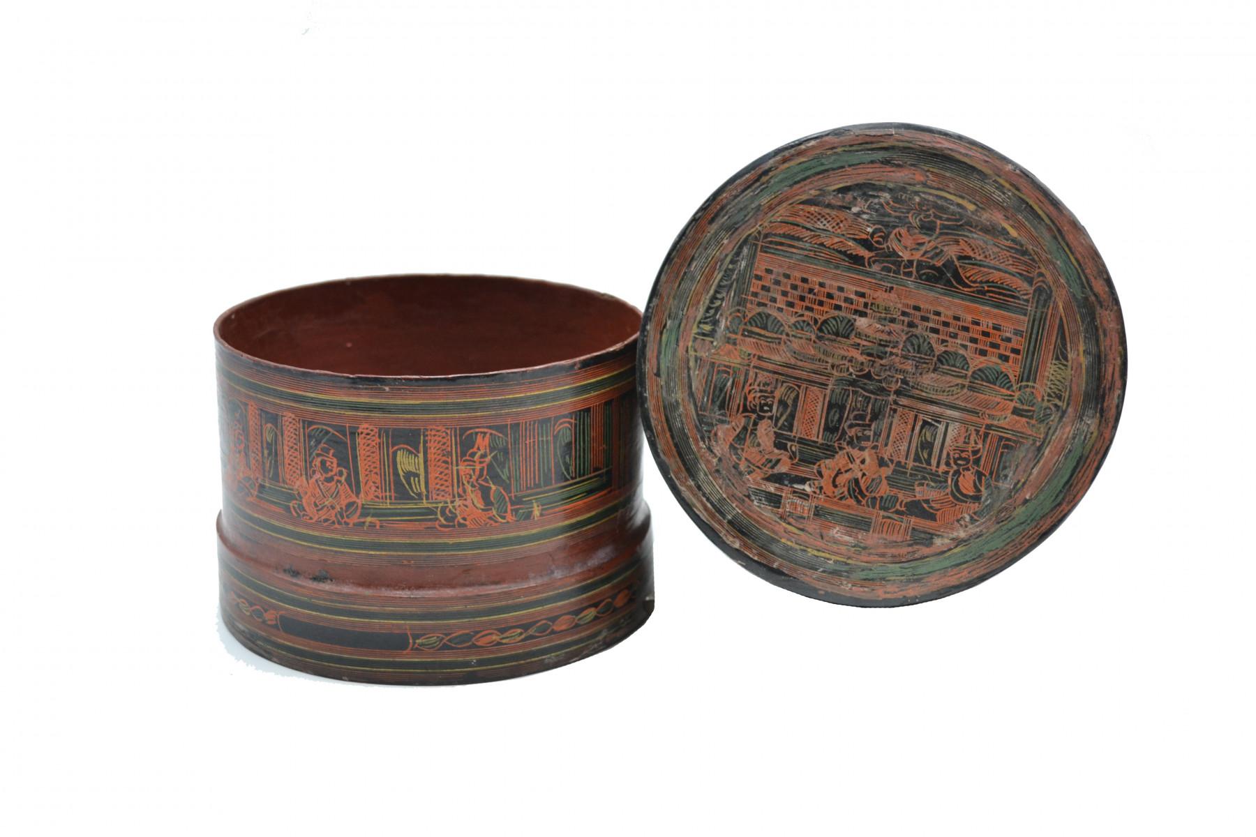 Boite laquée birmane peinte main 2