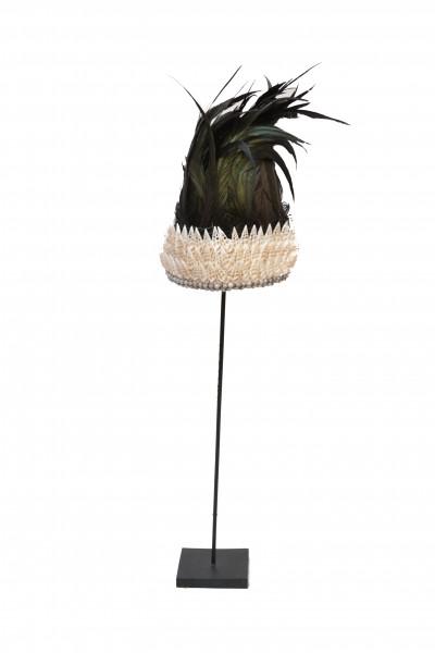 Coiffe  Papou en plumes et coquillages