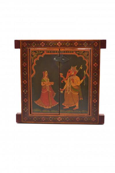 Petite Fenêtre en bois peint d'Inde du Nord