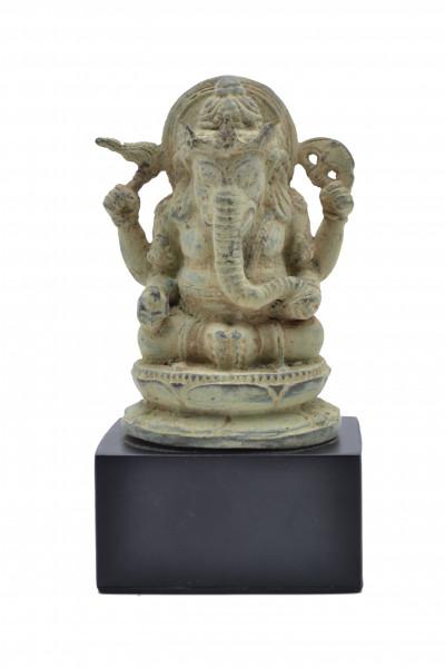 Ganesh assis en bronze sur socle