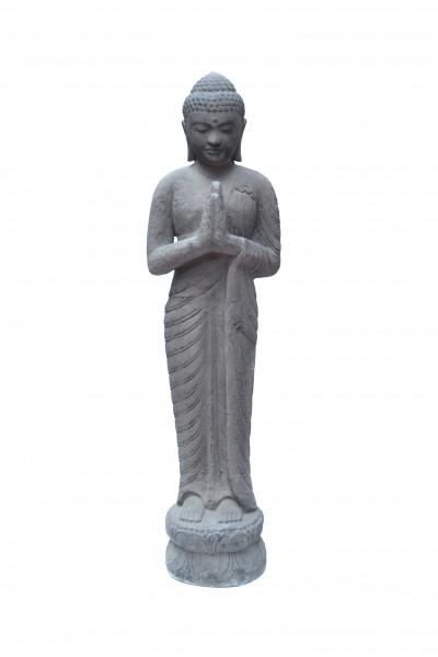 Bouddha prieur en pierre de lave